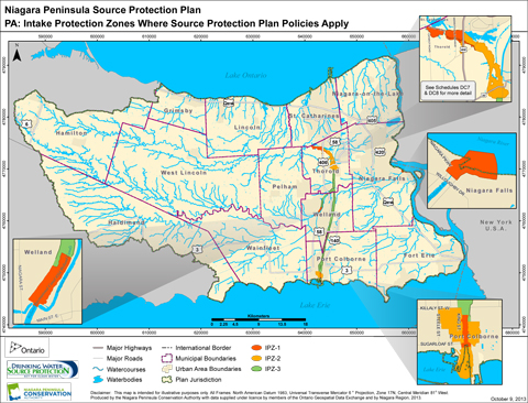 Map of Protection Zones where Source Protection Plan Policies Apply. Niagara Region, Ontario.